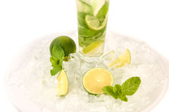 Mojito cocktail with lime and mint. In highball glass. Set of isolated mojitos Stock Photos