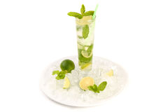 Mojito cocktail with lime and mint. In highball glass. Set of isolated mojitos Stock Image