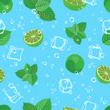 Mojito cocktail lime mint and ice blue water seamless vector pattern background Stock Photography