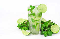 Mojito cocktail with lime and mint in tumbler glass Stock Photo