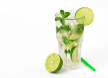 Mojito cocktail with lime and mint in tumbler glass Royalty Free Stock Image
