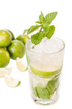 Mojito cocktail with limes on white background Royalty Free Stock Images
