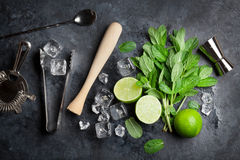 Mojito Cocktail Making Royalty Free Stock Images