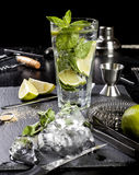 Mojito cocktail making. Ingredients and utensils. royalty free stock images