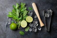 Mojito cocktail making Royalty Free Stock Photography