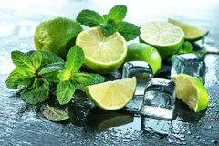Mint, lime, ice ingredients with water drops on slate Royalty Free Stock Photography