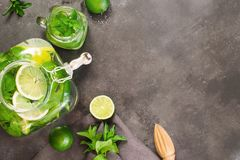 Mojito cocktail in mason jar with garnish on black table. Top view. Copy space for text royalty free stock photo
