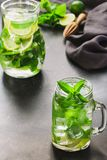 Mojito cocktail in mason jar with mint and lime on black stone table. Copy space for text royalty free stock photography