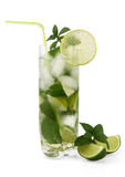Mojito-Cocktail mit Stroh Stockbilder