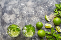 Mojito cocktail non alcohol bar refreshment drink top view copy space two highball glass, summer tropical vacation Royalty Free Stock Photos
