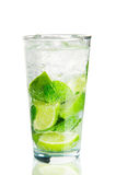 Mojito cocktail over white. With reflection stock photo
