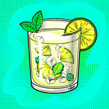 Mojito cocktail pop art vector illustration Stock Image