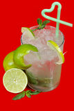 Mojito cocktail. On red background Stock Images