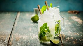 Mojito cocktail on rustic background Royalty Free Stock Image