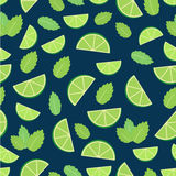 Mojito cocktail - seamless pattern of lime and mint leaves.  royalty free illustration