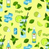 Mojito Cocktail, Seamless Pattern. Royalty Free Stock Photo