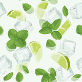 Mojito cocktail seamless pattern Royalty Free Stock Images