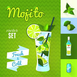Mojito Cocktail Set. Vector illustration, eps10. Royalty Free Stock Photos