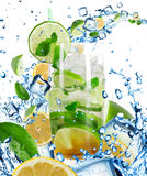Mojito Cocktail with splashing liquid Royalty Free Stock Images
