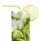 Mojito cocktail with straw Royalty Free Stock Photo