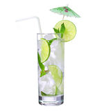 Mojito. Cocktail with straw and umbrella on the top, isolation Royalty Free Stock Image