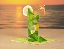 Mojito cocktail and striped napkin Stock Photo