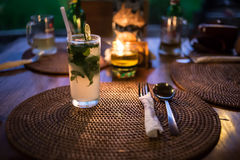 Mojito cocktail on the Table. Mojito cocktail on the dinner table royalty free stock image