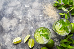 Mojito cocktail traditional Cuban alcohol drink top view copy space in highball glass, summer tropical vacation beverage Stock Photos