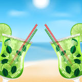 Mojito cocktail. Two glasses with cocktails on the background of sea and sky.summer background.beach background.mojito cocktail stock illustration