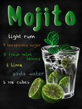 Mojito cocktail in vintage style drawing with chalk on blackboard stock photography