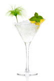 Mojito cocktail with vodka in Martini Glass. Mojito cocktail with vodka garnished with lemon and mint in a tall stemmed conical martini glass with ice conceptual Stock Photo