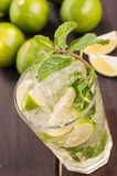 Mojito cocktail on a wooden table close-up top view Royalty Free Stock Image