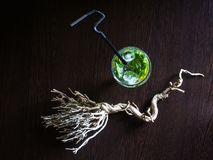 Mojito cocktail, wide view, top view stock photos