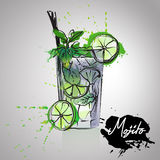 Mojito cocktails drawn watercolor blots and stains with a spray, including recipes and ingredients Royalty Free Stock Photography