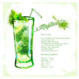 Mojito cocktails drawn watercolor. Royalty Free Stock Image