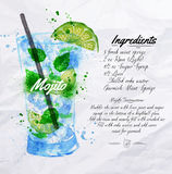 Mojito cocktails watercolor. Mojito cocktails drawn watercolor blots and stains with a spray, including recipes and ingredients on the background of crumpled vector illustration