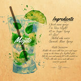 Mojito cocktails watercolor kraft. Mojito cocktails drawn watercolor blots and stains with a spray, including recipes and ingredients on the background of kraft royalty free illustration