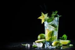Mojito coctail med den nya limefrukt och mintkaramellen royaltyfria bilder
