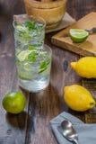 Mojito coctail med dess ingredienser på en trätabell royaltyfri foto