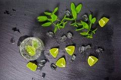 Mojito coctail med färgstänk, is, den gröna mintkaramellen, cuted limefrukter och dren Royaltyfri Bild