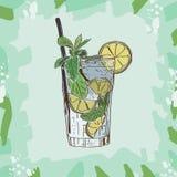 Mojito coctailillustration Utdragen vektor för alkoholiserad stångdrinkhand Popkonst royaltyfri illustrationer