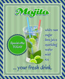 Mojito-coktail Hintergrund Lizenzfreies Stockbild