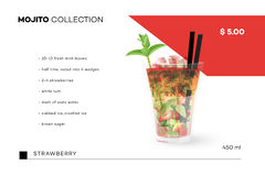 Mojito Collection. Vector Menu Template With Realistic Cocktail.  Royalty Free Stock Photos