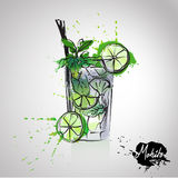 Mojito. With color splash alcohol fun stock illustration