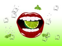 Mojito concept. Red beautiful lips with lime, mint and ice cubes Royalty Free Stock Photos