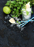 Mojito cooking set. Bunch of fresh mint, lime, chipped ice and coctail glass over black slate stone backdrop Royalty Free Stock Image