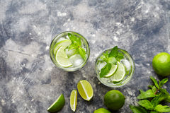Mojito Cuba cocktail non alcohol drink two highballs, summer tropical vacation beverage with rum Royalty Free Stock Images