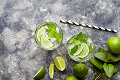 Mojito Cuba highball cocktail non alcohol drink, summer tropical vacation beverage with rum Royalty Free Stock Image