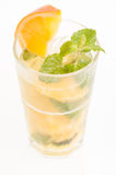 Fresh Orange Mojito cocktail over white background Stock Image