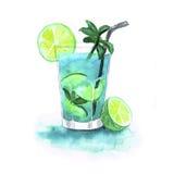 Mojito de cocktail d'aquarelle d'isolement sur le fond blanc Images libres de droits